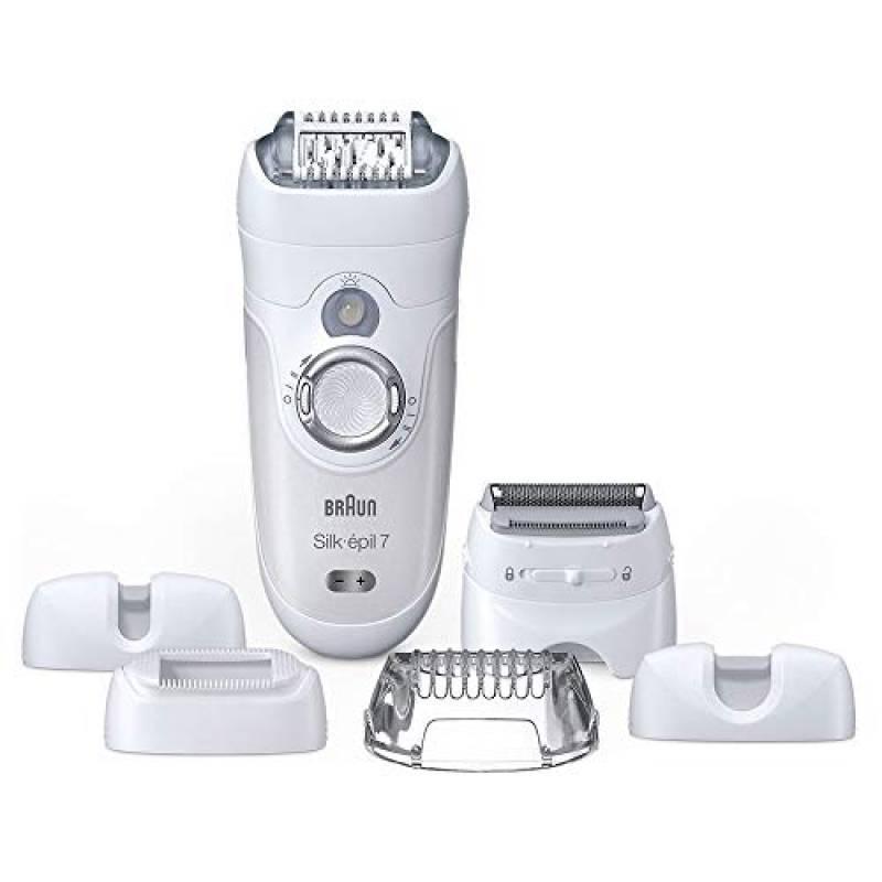 Braun Silk-Épil 7 7-561 Wet&Dry Epilatore Elettrico senza Fili con 6 Accessori, white
